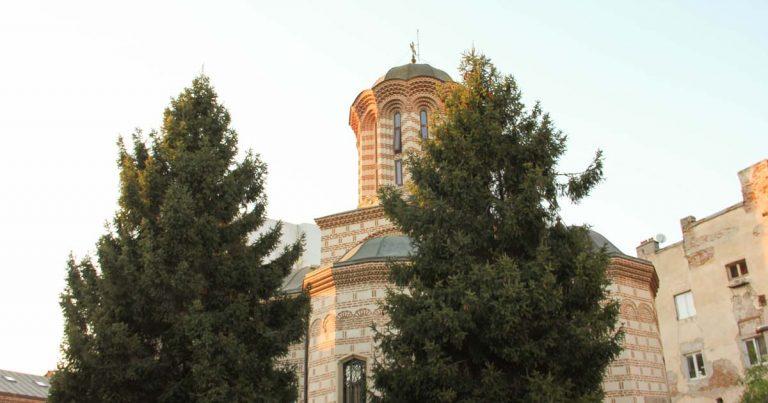 Най- старата православна църква в Букурещ , на залез